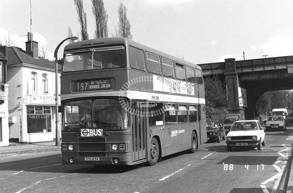 London Country South West Leyland Olympian LR25 TPD125X  at Purley , Godstone Rd  in 1987 on route  197B  - Russell Fell