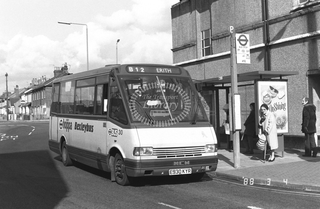 Bexleybus MCW Metrorider MR54 E930KYR  at Bexley , Market Place  in 1988 on route  B12  - Russell Fell