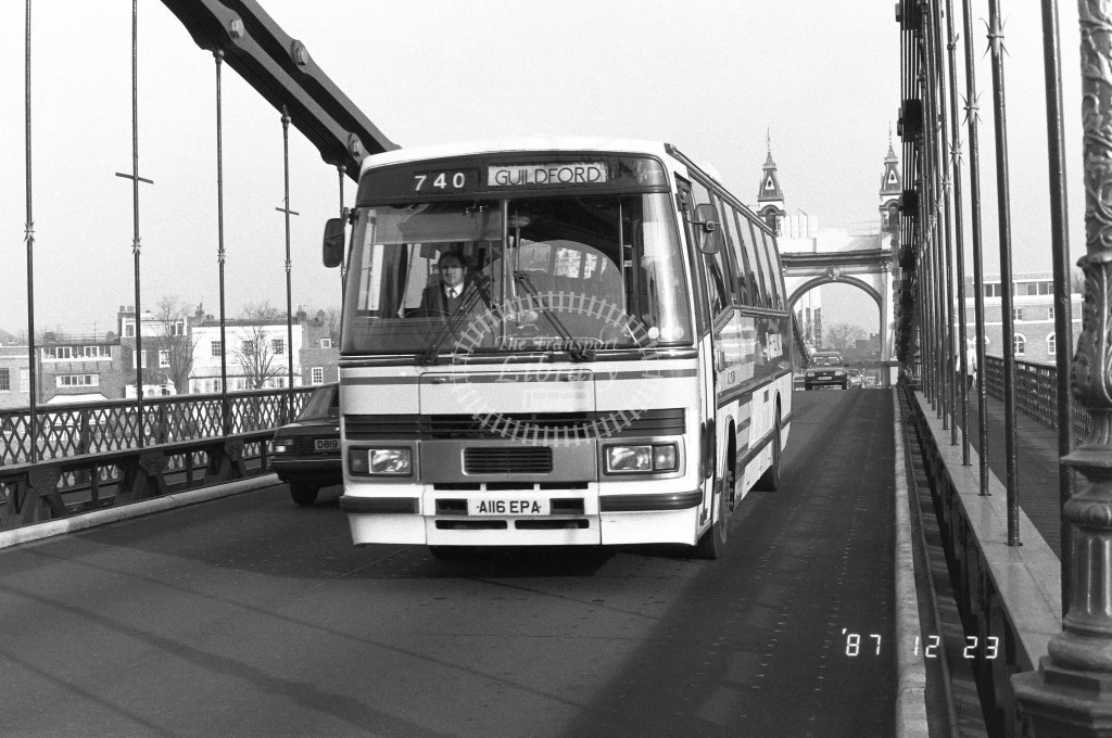 London Country South West Leyland Tiger TP16 A116TPA  at Hammersmith , Bridge  in 1987 on route  740  - Russell Fell