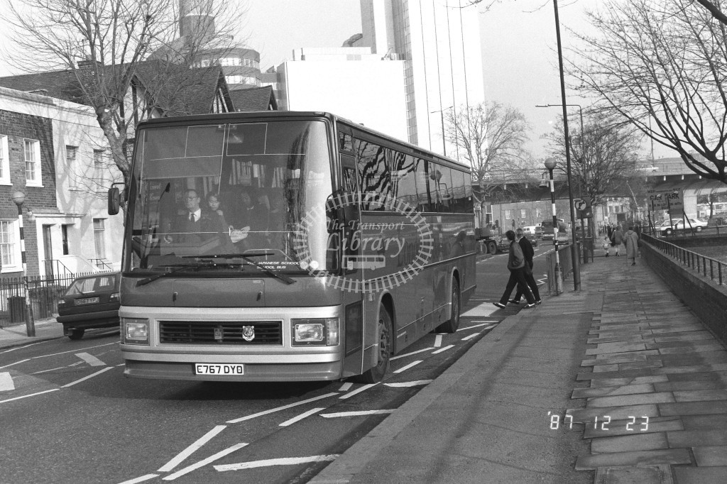 London Coaches Leyland Tiger LD2 C767DYO  at Hammersmith , Bridge Road  in 1987 on route  Jap. School Bus  - Russell Fell