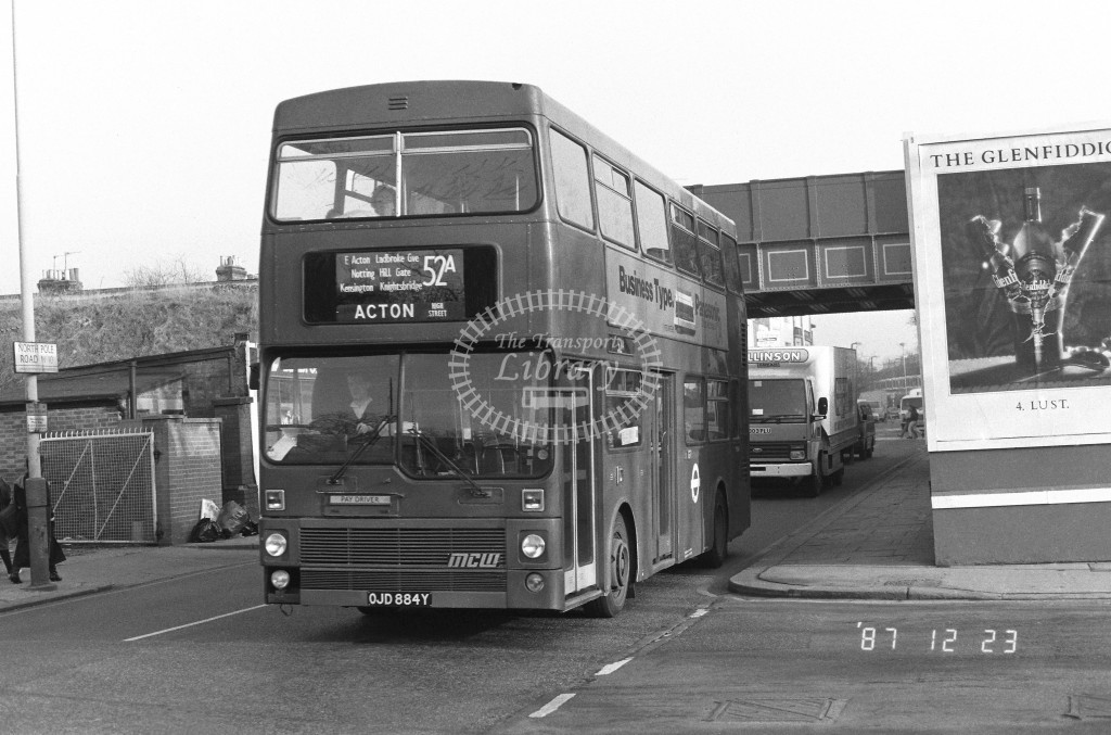 London Buses MCW Metrobus M884 OJD884Y  at Wormwood Scrubs , North Pole Rd  in 1987 on route  52A  - Russell Fell