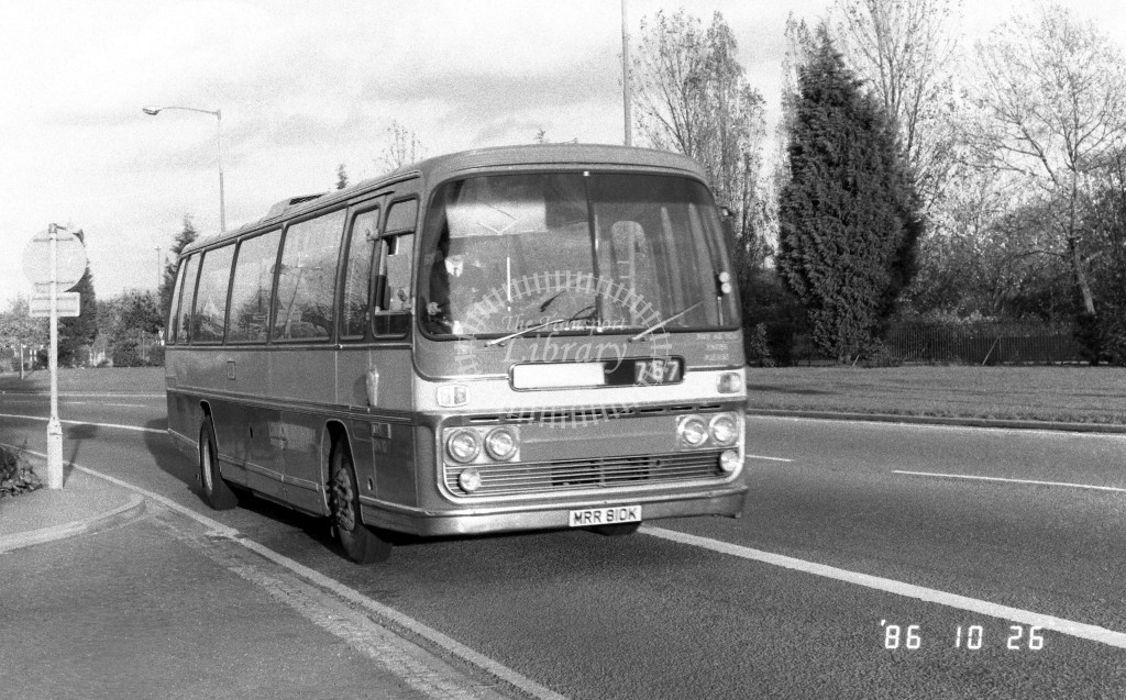London Country South West AEC Reliance RN10 MRR810K  at Staines , Bus Station  in 1987 on route  767  - Russell Fell