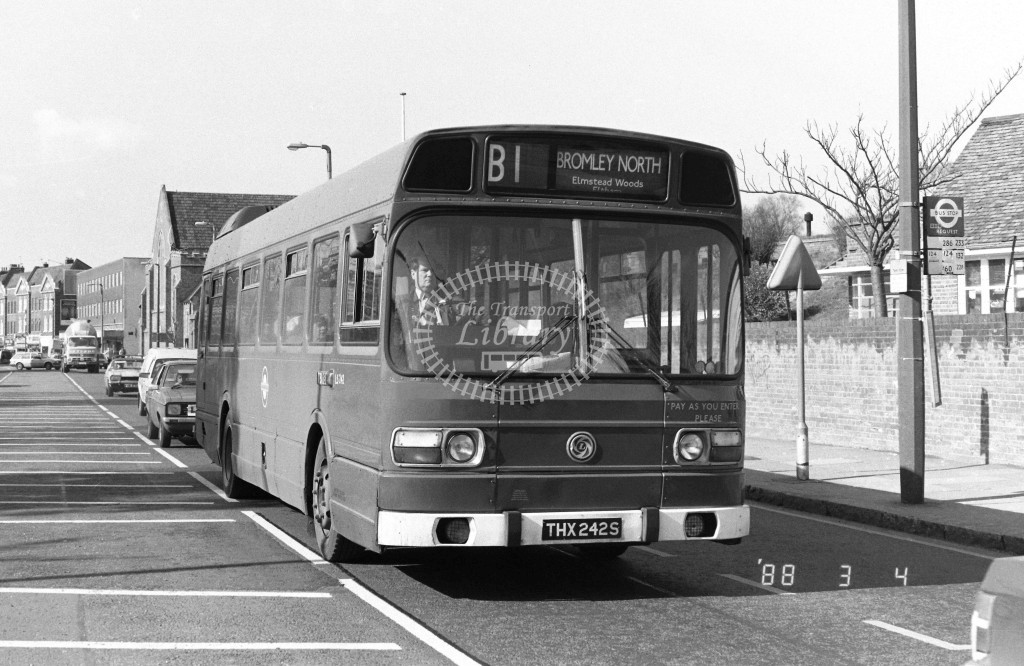 London Buses Leyland National LS242 THX242S  at Eltham , High Street  in 1988 on route  B1  - Russell Fell