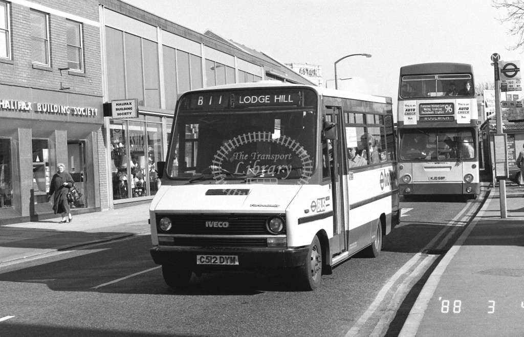 Bexleybus Iveco Daily RH12 C512DYM  at Bexleyheath , Market Place  in 1988 on route  B11  - Russell Fell
