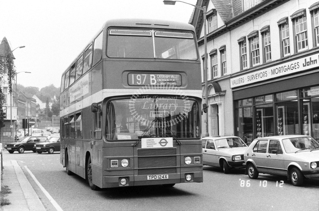London Country South West Leyland Olympian LR24 TPD124X  at Purley , Godstone Rd  in 1986 on route  197B  - Russell Fell
