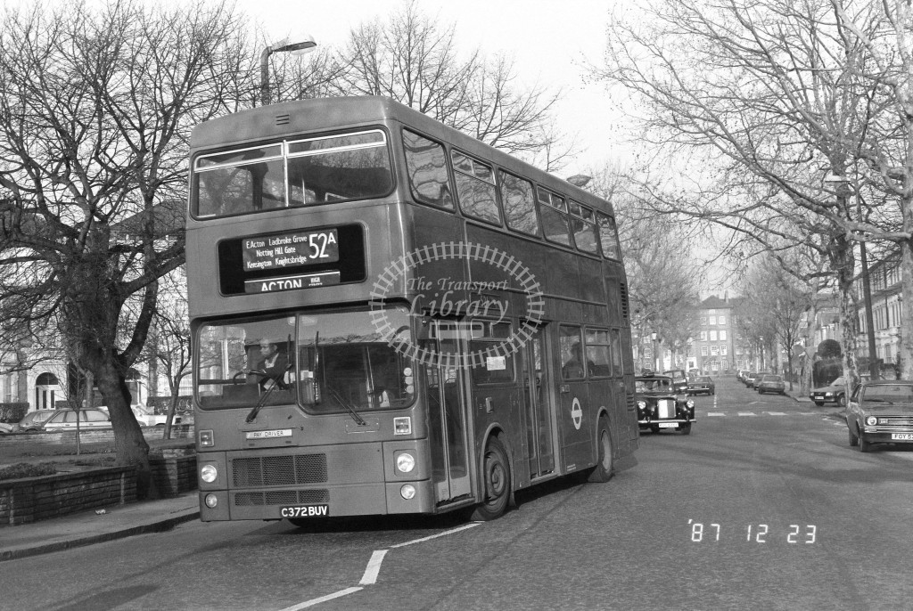 London Buses MCW Metrobus M1372 C372BUV  at Ladbroke Grove , St Quentin Rd  in 1987 on route  52A  - Russell Fell