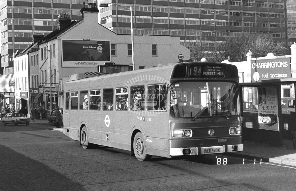 London Buses Leyland National LS423 BYW423V  at East Croydon , Station  in 1988 on route  194  - Russell Fell