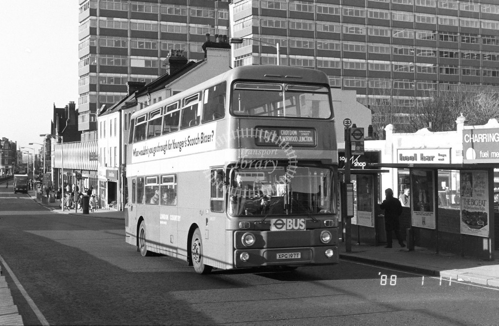 London Country South West Leyland Atlantean AN197 XPG197T  at East Croydon , Station  in 1988 on route  197  - Russell Fell