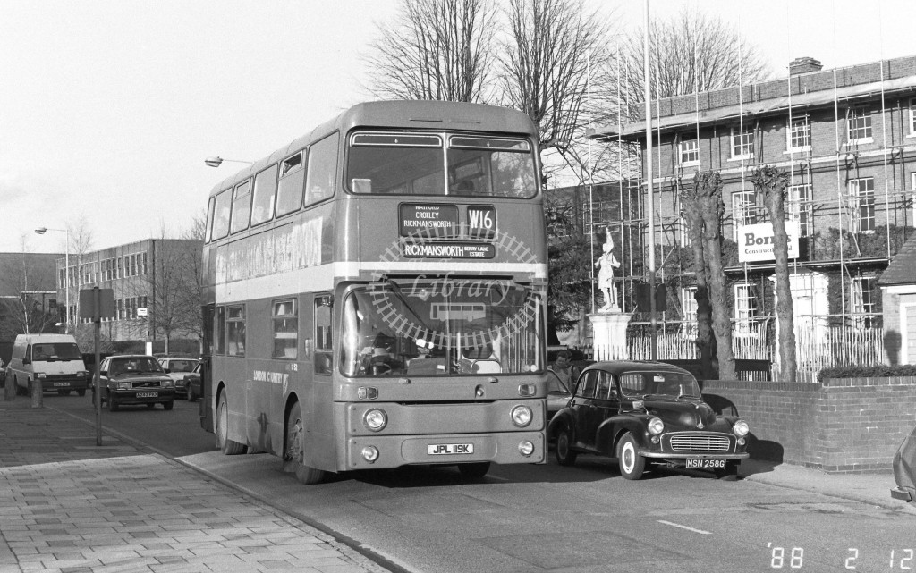 London Country North West Leyland Atlantean AN19 JPL119K  at Rickmansworth  , High Street  in 1988 on route  W16  - Russell Fell