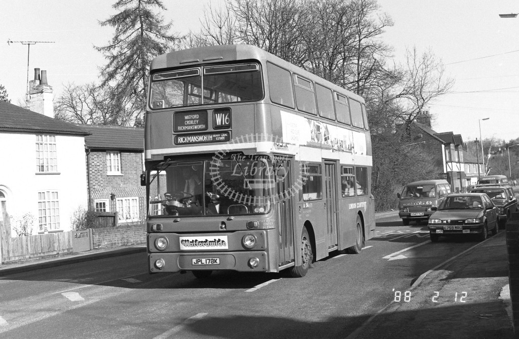 London Country North West Leyland Atlantean AN78 JPL178K  at Croxley  in 1988 on route  W16  - Russell Fell