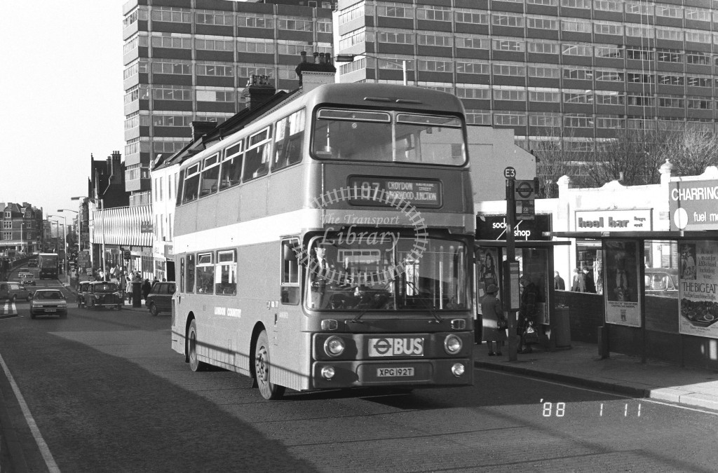London Country South West Leyland Atlantean AN192 XPG192T  at East Croydon , Station  in 1988 on route  197  - Russell Fell