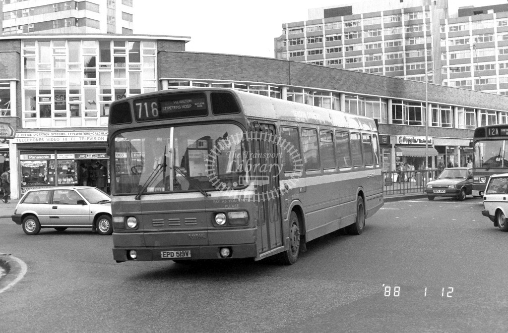 London Country South West Leyland National SNB519 EPD519V  at East Croydon , Wellesley Rd  in 1988 on route  716  - Russell Fell