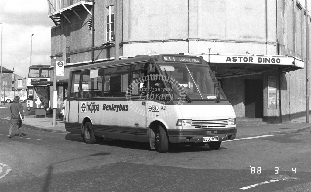 Bexleybus MCW Metrorider MR56 E632KYW  at Bexleyheath , Market Place  in 1988 on route  B11  - Russell Fell