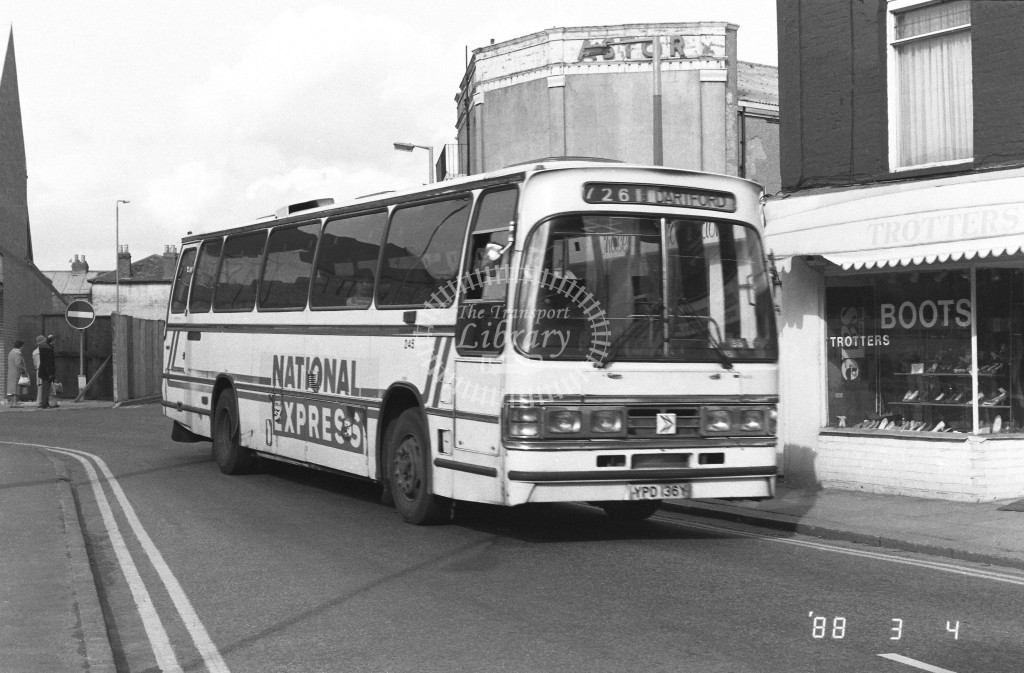 Kentish Bus Leyland Tiger TD36 YPD136Y  at Bexleyheath , Market Place  in 1988 on route  726  - Russell Fell