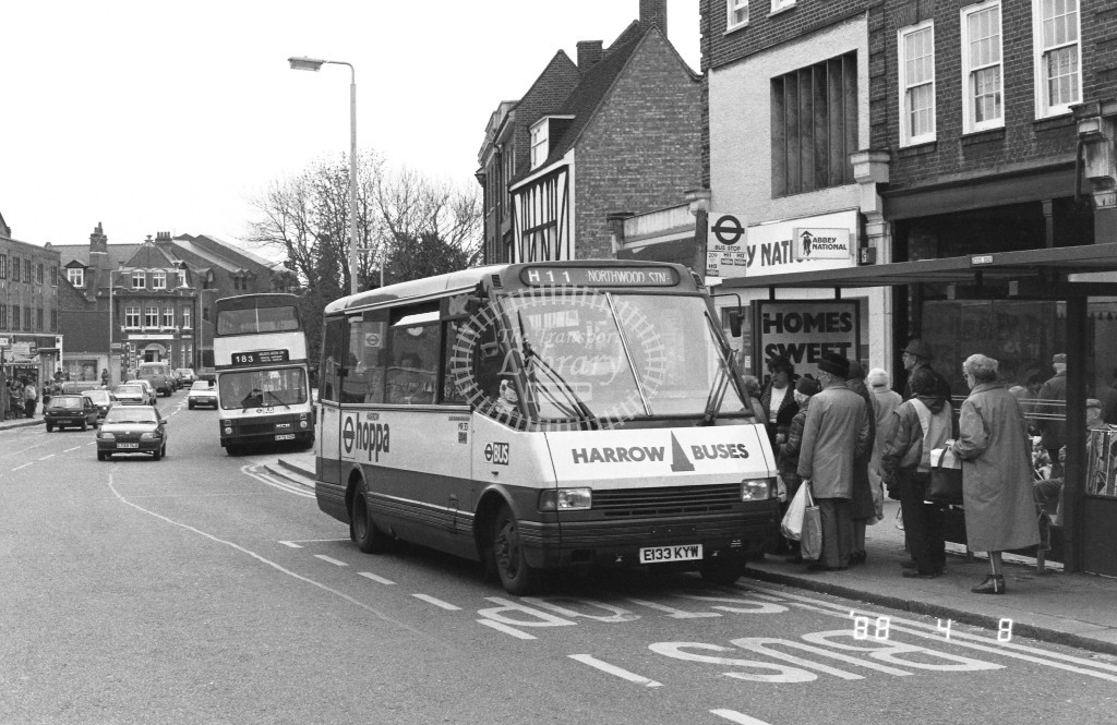 Harrow Buses MCW Metrorider MR33 E133KYW  at Pinner , Bridge Street  in 1988 on route  H11  - Russell Fell