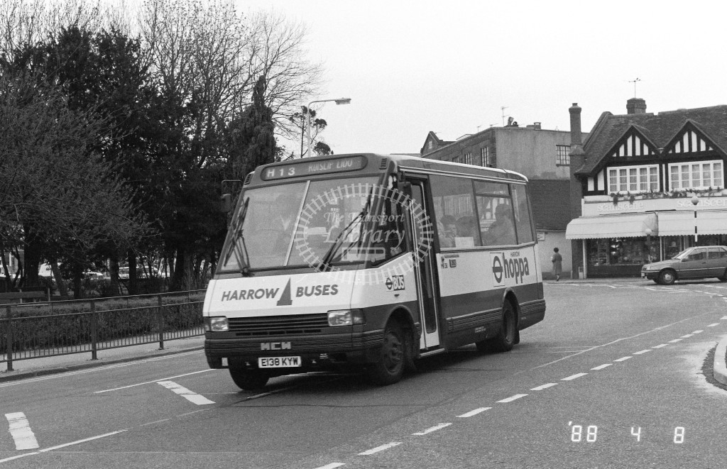 Harrow Buses MCW Metrorider MR38 E138KYW  at Pinner , Bridge Street  in 1988 on route  H13  - Russell Fell