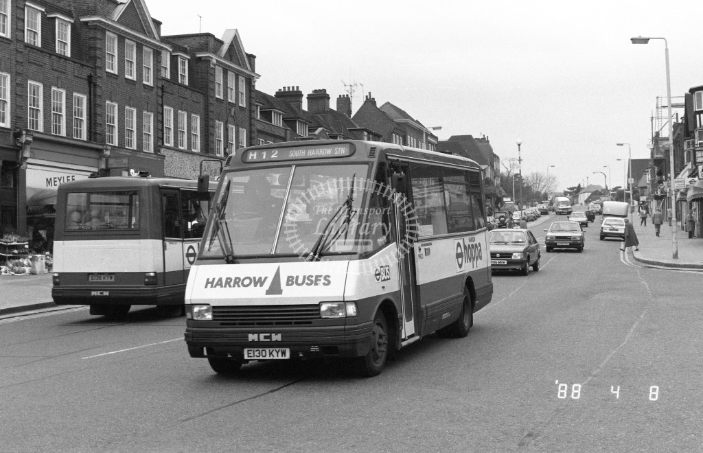 Harrow Buses MCW Metrorider MR30 E130KYW  at Pinner , Bridge Street  in 1988 on route  H12  - Russell Fell