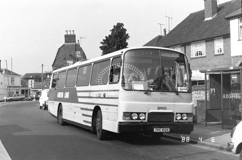 London Country South West Leyland Tiger TL2 TPC102X  at Dorking , Horsham Rd  in 1988 on route  714  - Russell Fell