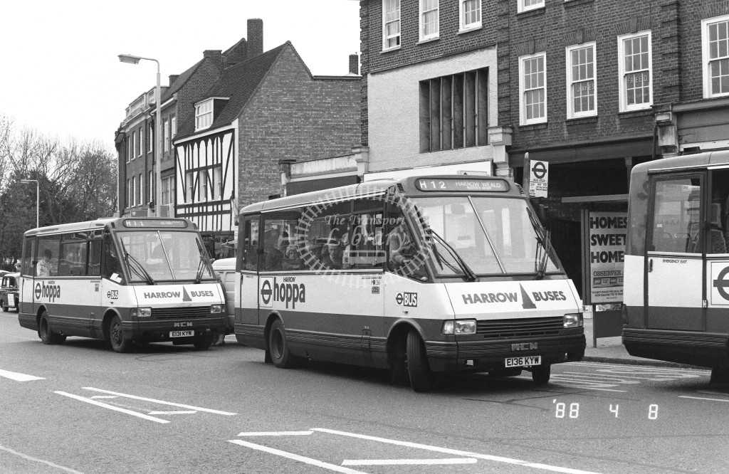 Harrow Buses MCW Metrorider MR36 E136KYW  at Pinner , Bridge Street  in 1988 on route  H12  - Russell Fell