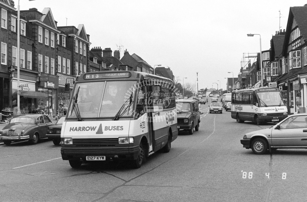 Harrow Buses MCW Metrorider MR27 E127KYW  at Pinner , Bridge Street  in 1988 on route  H13  - Russell Fell