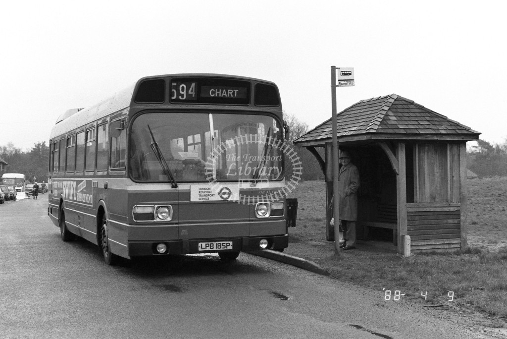 London Country South West Leyland National SNB185 LPB185P  at Chart , Village  in 1988 on route  594  - Russell Fell
