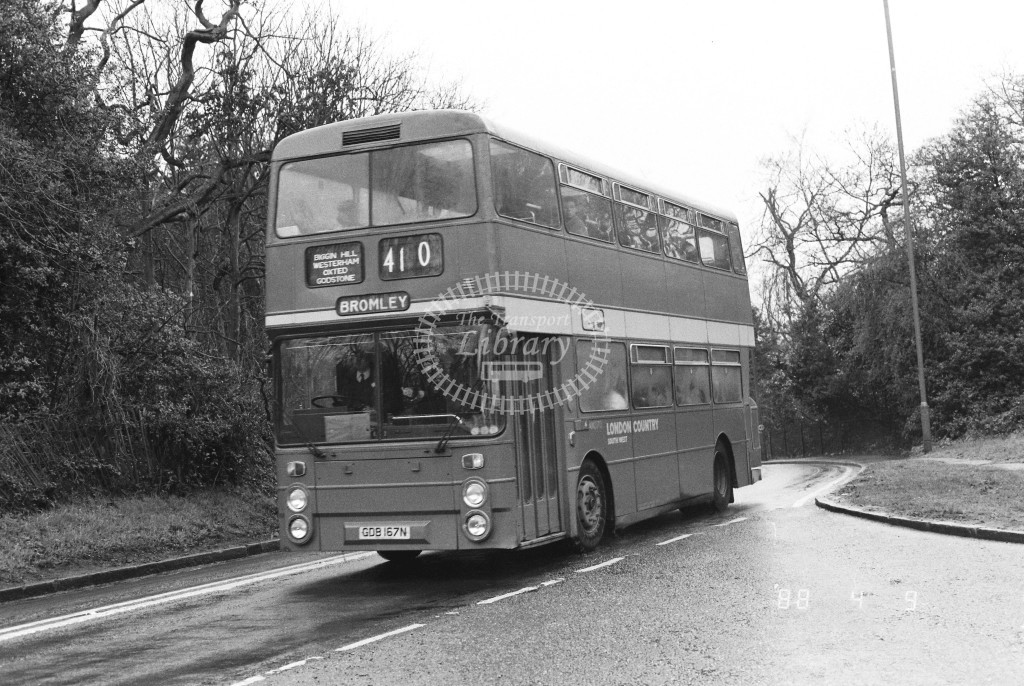London Country South West Leyland Atlantean AN370 GDB167N  at Oxted  in 1988 on route  410  - Russell Fell