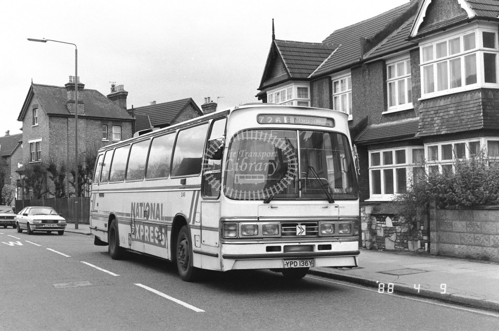 Kentish Bus Leyland Tiger TD36 YPD136Y  at Beckenham Jnc  in 1988 on route  726  - Russell Fell