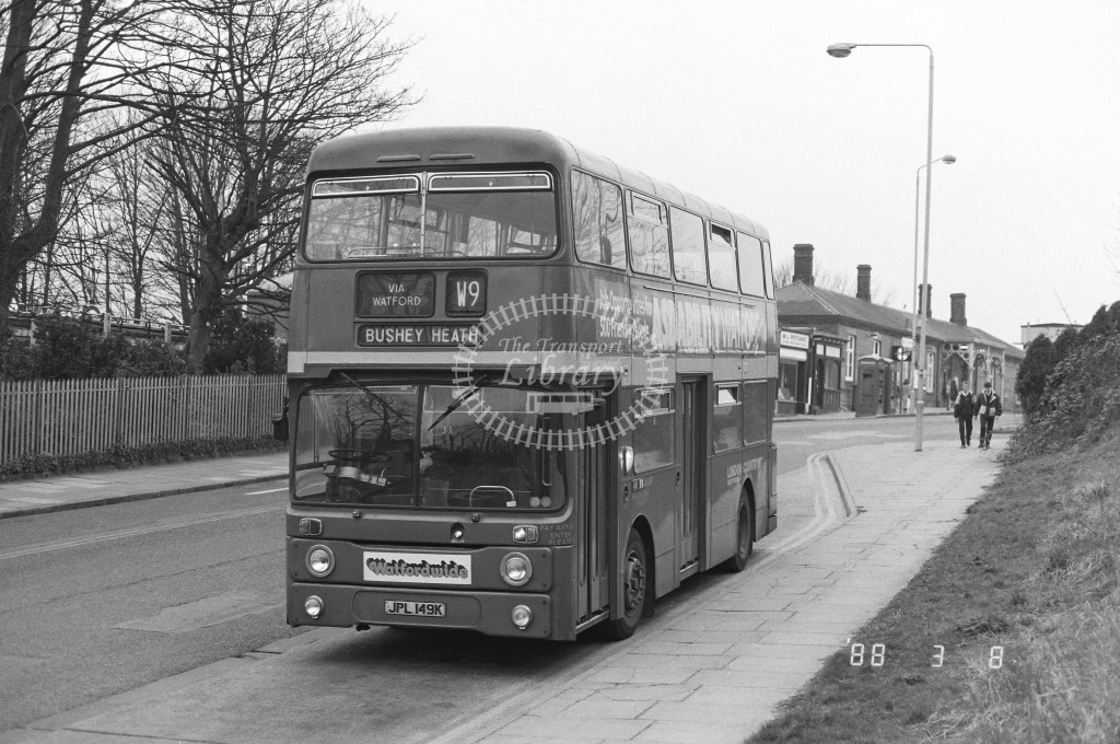 London Country North West Leyland Atlantean AN49 JPL149K  at Rickmansworth  , LT Station  in 1988 on route  W9  - Russell Fell