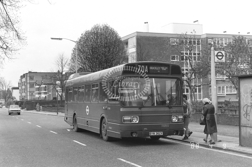 London Buses Leyland National LS362 BYW362V  at Peckham , Nunhead Lane  in 1988 on route  70A  - Russell Fell