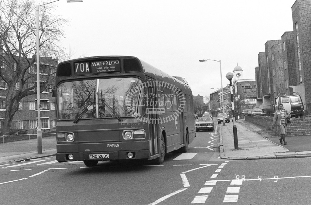 London Buses Leyland National LS263 THX263S  at Peckham , Nunhead Lane  in 1988 on route  70A  - Russell Fell