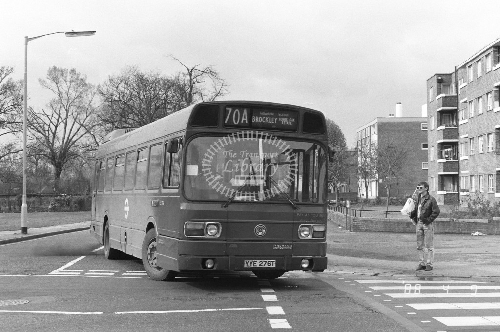 London Buses Leyland National LS276 YYE276T  at Peckham , Nunhead Lane  in 1988 on route  70A  - Russell Fell