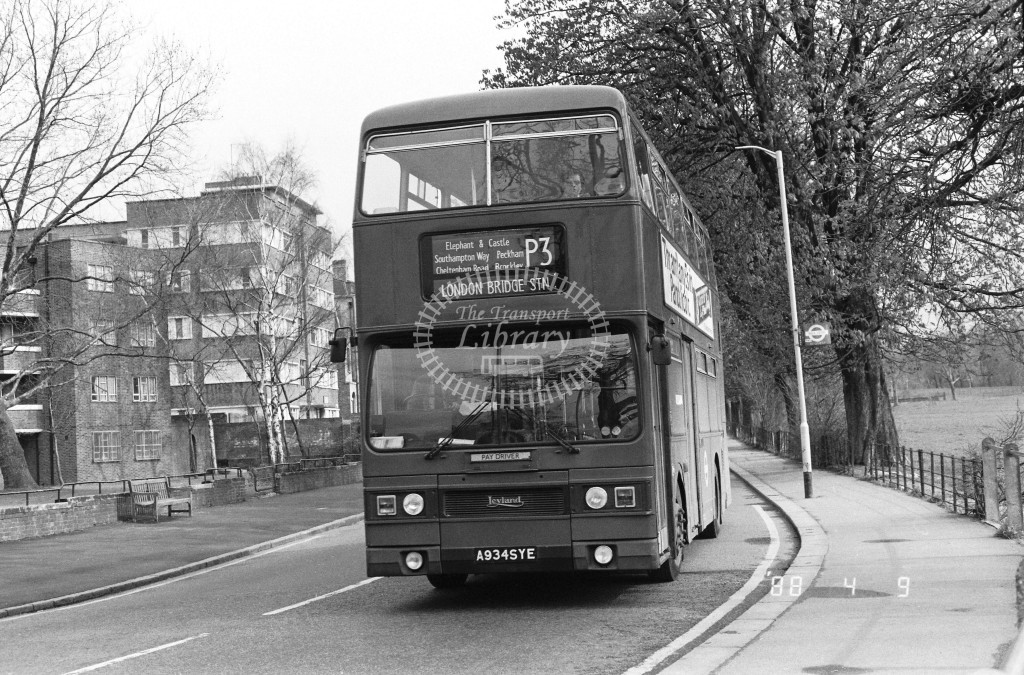 London Buses Leyland Titan T934 A934SYE  at Peckham , Rye  in 1988 on route  P3  - Russell Fell