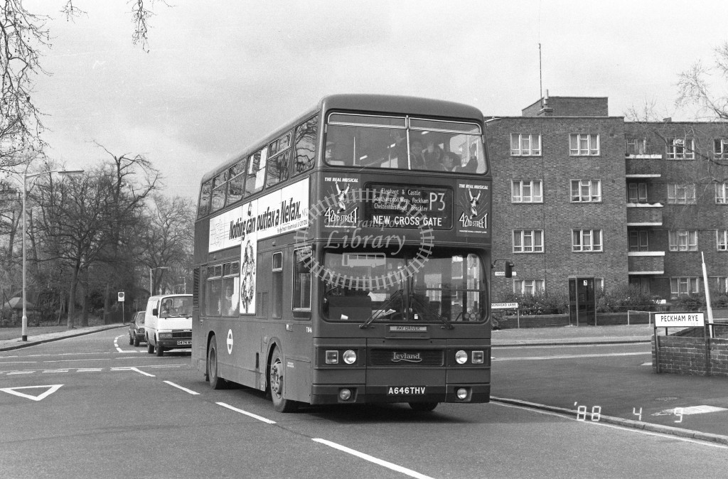 London Buses Leyland Titan T1046 A646THV  at Peckham , Rye  in 1988 on route  P3  - Russell Fell