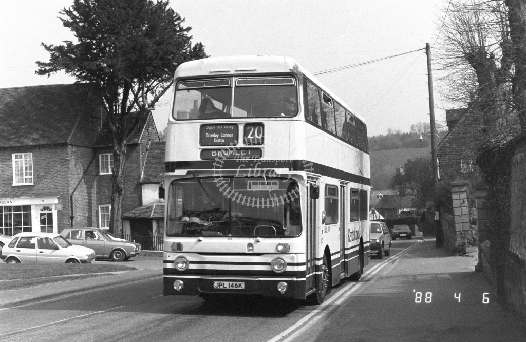 Kentish Bus Leyland Atlantean Class AN AN46  on route 20 JPL146K  at Westerham  in 1988 - Russell Fell