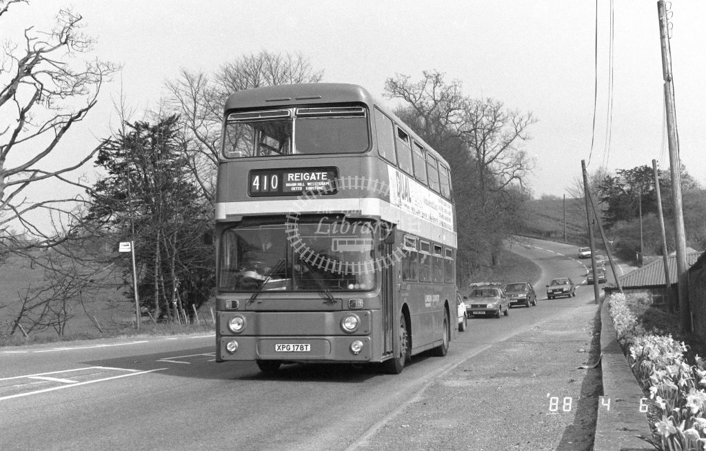 London Country South West Leyland Atlantean Class AN AN178  on route 410 XPG178T  in 1988 - Russell Fell