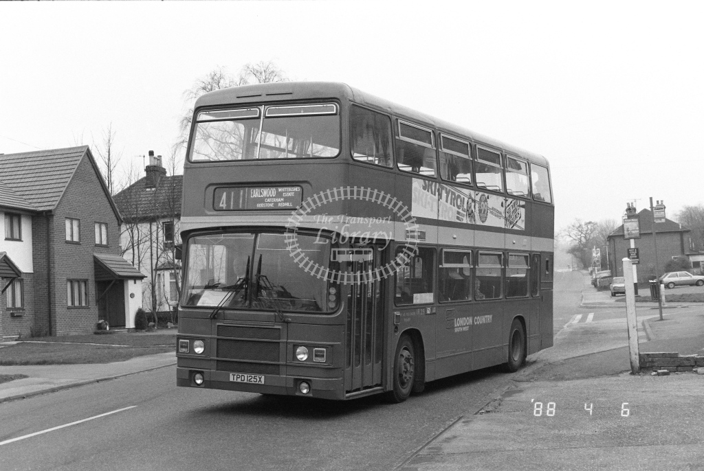 London Country South West Leyland Olympian Class LR LR25  on route 411 TPD125X  at Godstone  in 1988 - Russell Fell