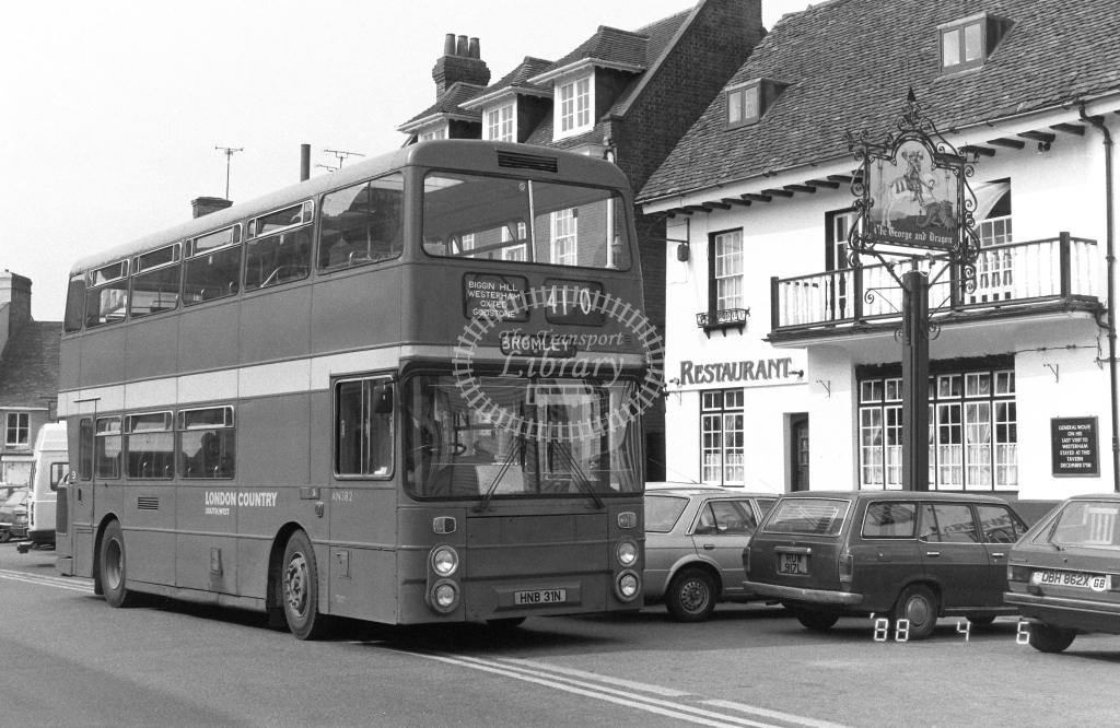 London Country South West Leyland Atlantean Class AN AN382  on route 410 HNB31N  at Westerham  in 1988 - Russell Fell