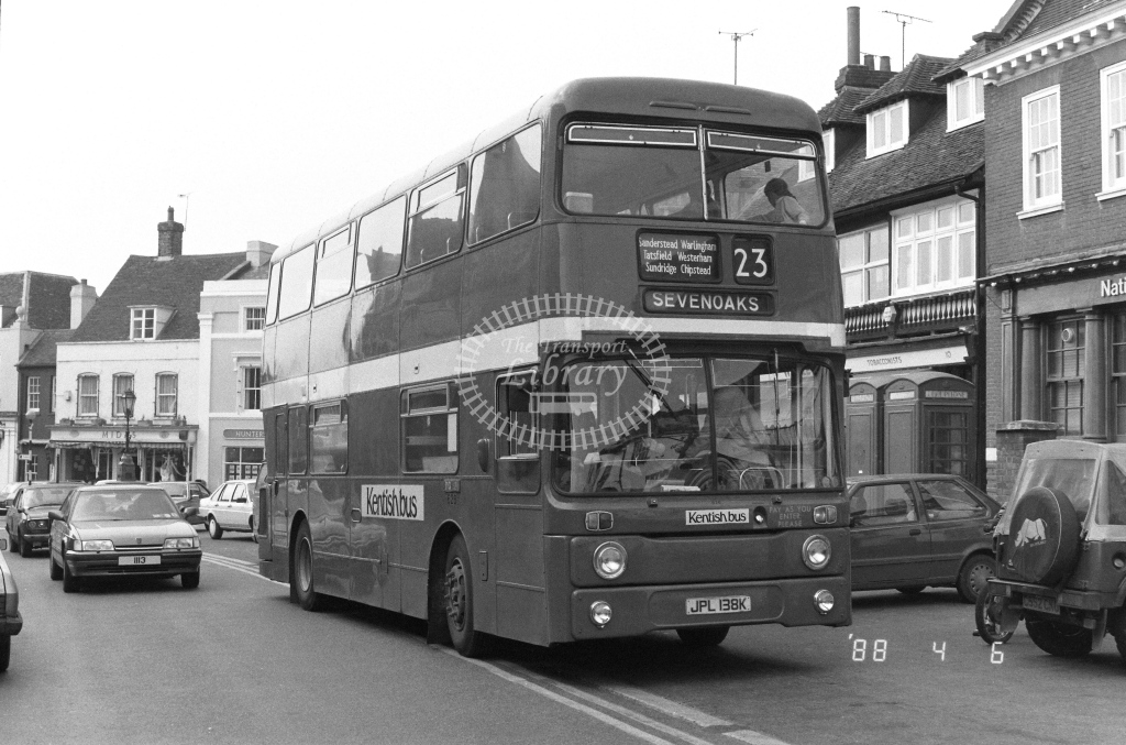 Kentish Bus Leyland Atlantean Class AN AN38  on route 23 JPL138K  at Westerham  in 1988 - Russell Fell