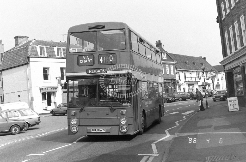 London Country South West Leyland Atlantean Class AN AN370  on route 410 GDB167N  at Westerham  in 1988 - Russell Fell