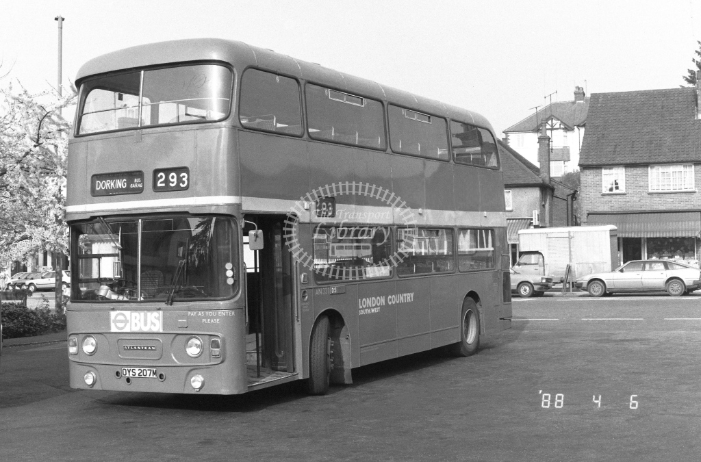 London Country South West Leyland Atlantean Class AN AN331  on route 293 OYS207M  at Dorking  in 1988 - Russell Fell
