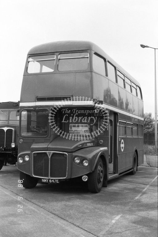 Private AEC Routemaster Class RMA RMA10  on route 175 NMY647E  at North Weald  in 1988 - Russell Fell