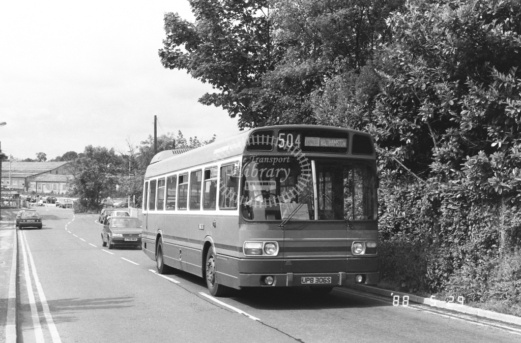 London Country North East Leyland National Class SNB SNB306  on route 504 UPB306S  at Ongar  in 1988 - Russell Fell