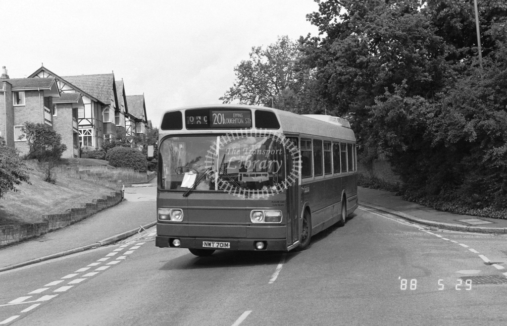 Wests Coaches Leyland National  on route 201 NWR701M  at Epping  in 1988 - Russell Fell