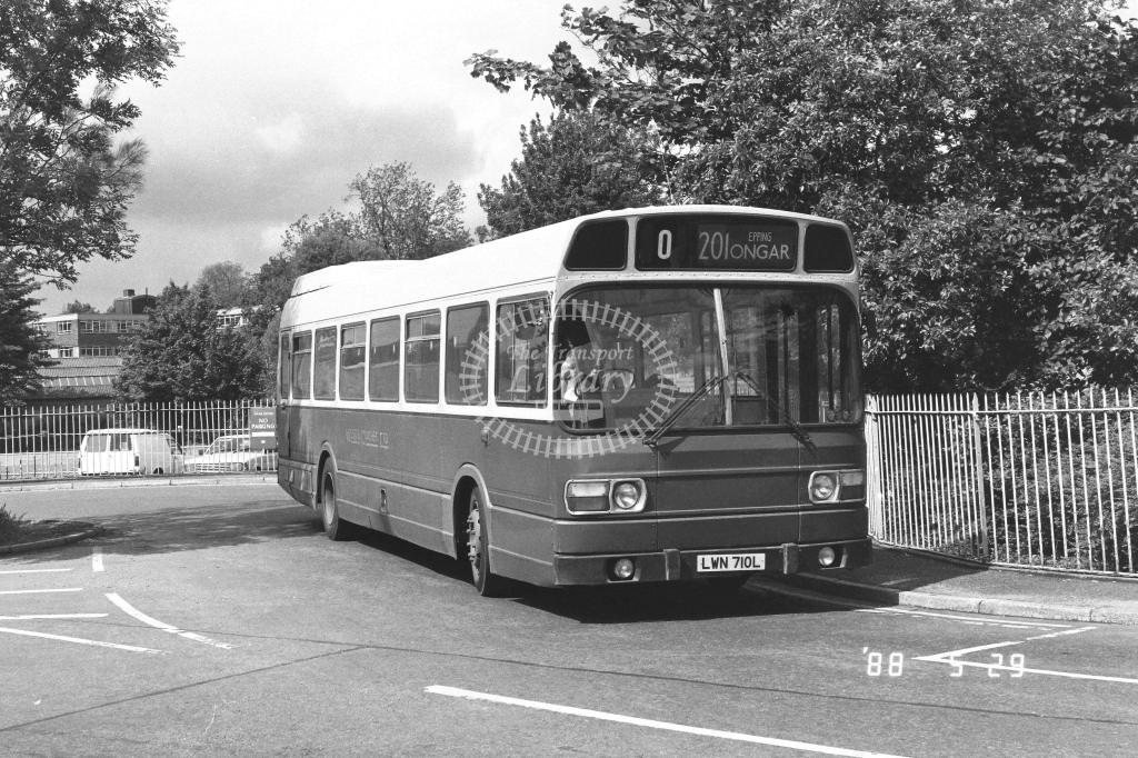 Wests Coaches Leyland National  on route 201 LWN710L  at Epping  in 1988 - Russell Fell