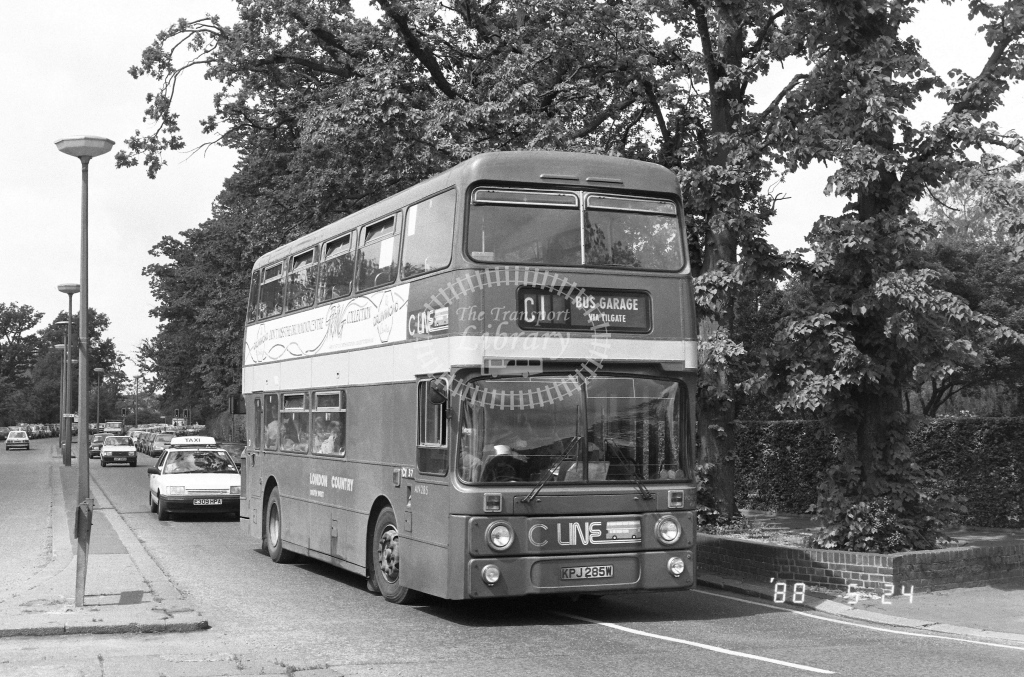 London Country South West Leyland Atlantean Class AN AN285  on route C1 KPJ285W  at Crawley  in 1988 - Russell Fell