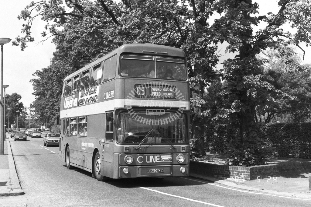 London Country South West Leyland Atlantean Class AN AN283  on route C5 KPJ283W  at Crawley  in 1988 - Russell Fell