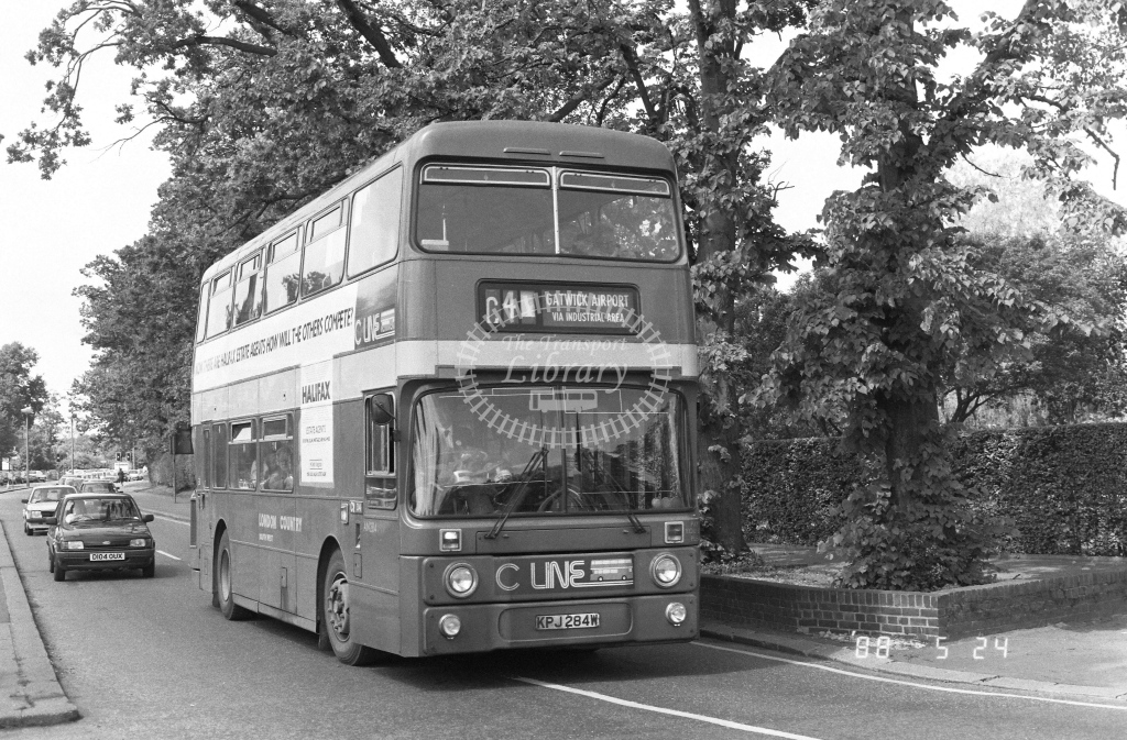 London Country South West Leyland Atlantean Class AN AN284  on route C4 KPJ284W  at Crawley  in 1988 - Russell Fell