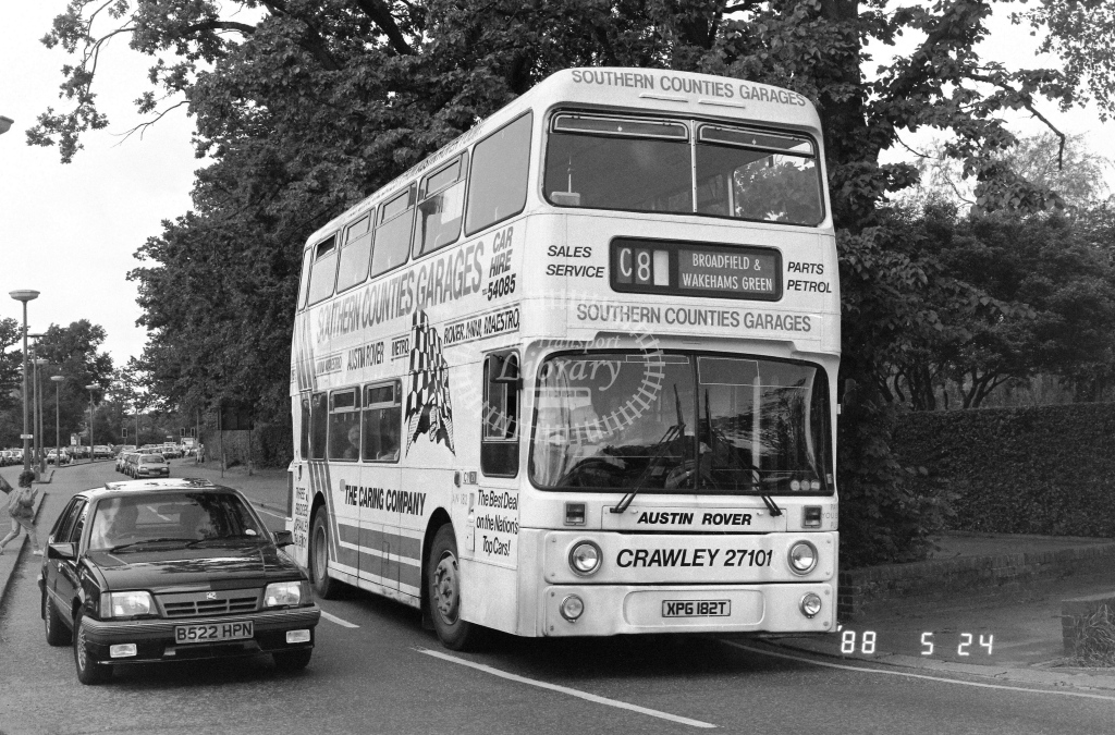 London Country South West Leyland Atlantean Class AN AN182  on route C8 XPG182T  at Crawley  in 1988 - Russell Fell