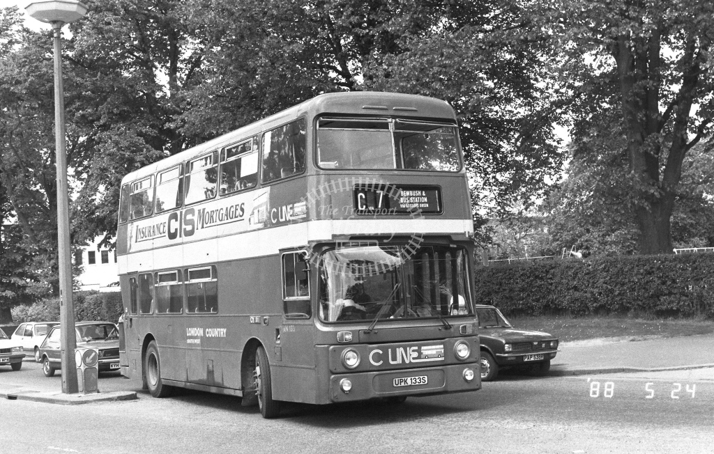 London Country South West Leyland Atlantean Class AN AN133  on route C7 UPK133S  at Crawley  in 1988 - Russell Fell