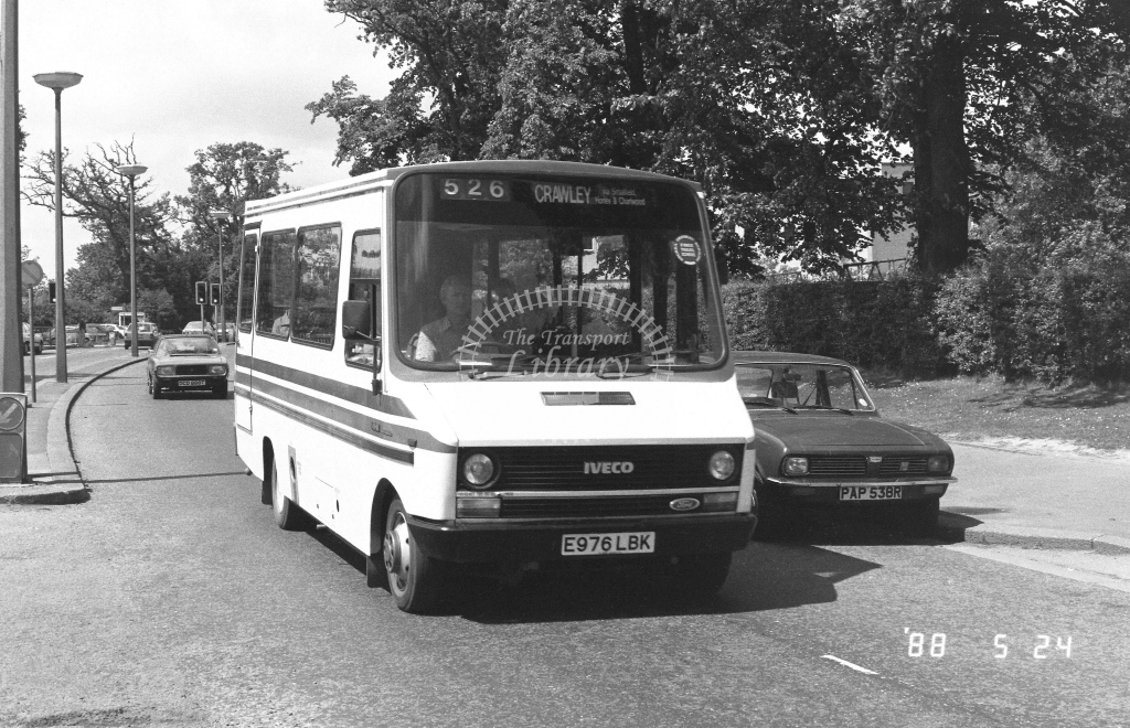 W & H Motors Iveco Daily  on route 526 E976LBK  at Crawley  in 1988 - Russell Fell